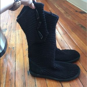 Bear Paw Black Woven Button Boots